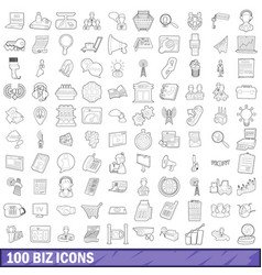 100 biz icons set outline style vector