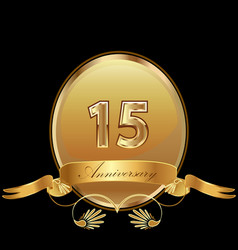 15th golden anniversary birthday seal icon vector