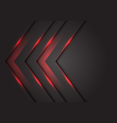 Abstract red light 3d arrow direction on dark grey vector