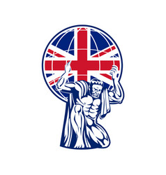 Atlas carrying globe british union jack flag vector