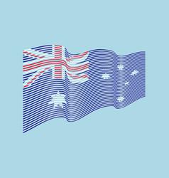 australia flag on blue background wave str vector image