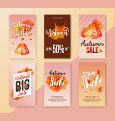 autumn sale vertical banner background design vector image