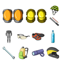 Bicycle outfit cartoon icons in set collection for vector