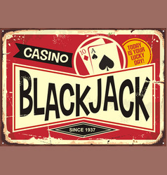 Blackjack retro casino sign vector