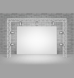 Blank picture standing with brick wall spotlights vector