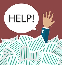 Businessman need help under a lot documents vector
