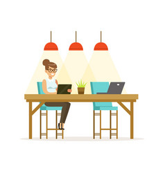 Businesswoman working using a tablet in the open vector