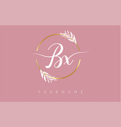 Bx b x letters logo design with golden circle vector