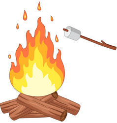 campfire and marshmallow roast on a stick vector image
