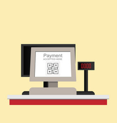 cash register electronic qr code payment isolated vector image