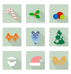 Christmas flat icons vector image