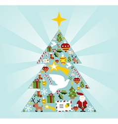 Christmas icon set in season tree shape vector image