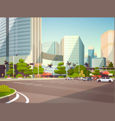 City car parking over skyscraper buildings modern vector
