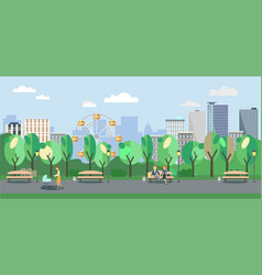 city park with people vector image