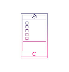 color line smartphone object technology with data vector image
