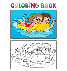 coloring book swimming theme 3 vector image