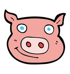 Comic cartoon pig face vector