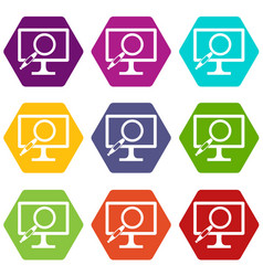 computer monitor magnifying glass icon set color vector image