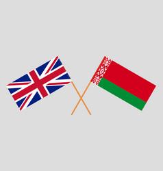 Crossed flags belarus and uk vector