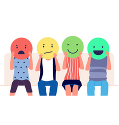 customer feedback people holding emoticons vector image