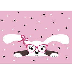 Cute bunny girl with glasses on pink heart vector