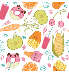 cute food seamless pattern vector image