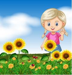 cute girl in sunflower garden vector image
