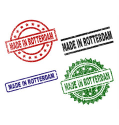 Damaged textured made in rotterdam seal stamps vector