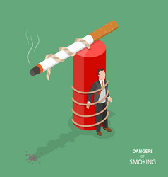 Danger of smoking flat isometric concept vector