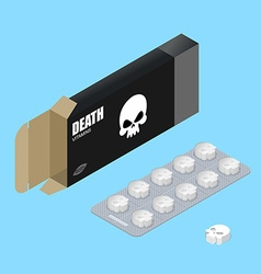 Death pills in pack Deadly vitamins in box vector image