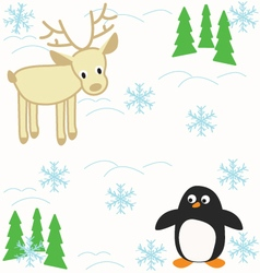 Deer and penguin vector