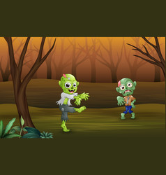 Disgusting zombies walking teorrorizing in the for vector