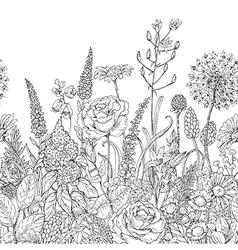 Doodle flowers pattern2 vector