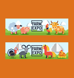 farm animals domestic farming animalistic vector image