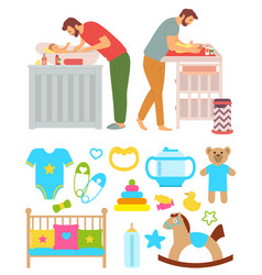 Father washing kid and changing diapers vector