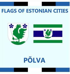 Flag of estonian city polva vector
