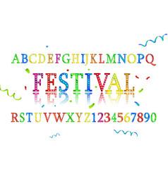 font alphabet colored confetti vector image