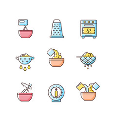 Food cooking instruction rgb color icons set vector