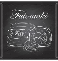 Futomaki roll on a blackboard vector