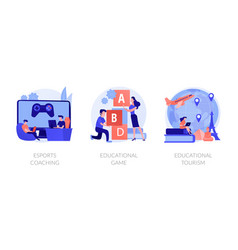 Gamified learning system concept metaphors vector