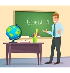Geography teacher stands at the blackboard vector