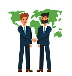 global partnership businessmen shaking hands vector image