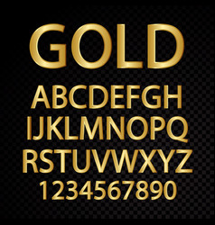 Gold alphabetical letters and numbers vector