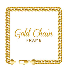 gold chain square border frame rectangle wreath vector image