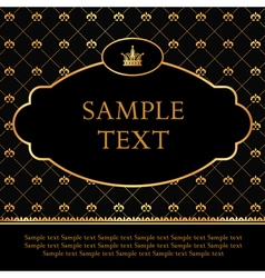 Golden Label with crown on Damask Background vector