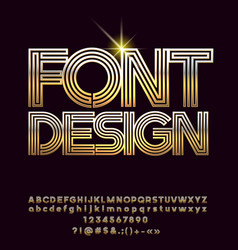 Golden luxury font design vector