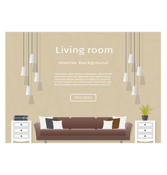 Graceful living room interior banner for your web vector
