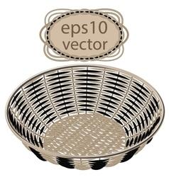 Gray wicker round basket handmade vector