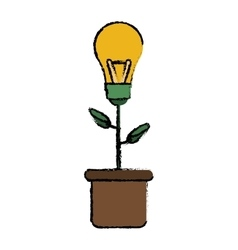 Green bulb idea plant pot sketch vector