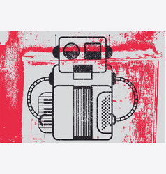 grunge poster with retro robot musician vector image